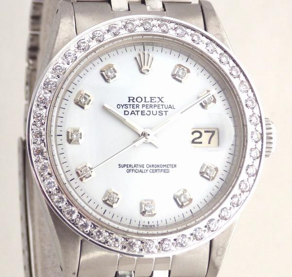 超美品 ロレックス デイトジャスト Ref.1601 白10Pダイヤ ダイヤベゼル ROLEX 純正ブレス でべそバックル OH済 仕上済 Cal.1560 純正ベゼル