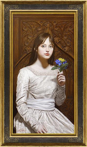 真作保証 古吉弘15号少女Christie'sで5号が1千万円 画家公認出品です!圧巻の細密豪華