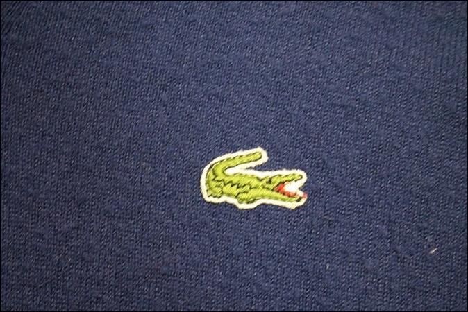 【XL】 70's IZOD LACOSTE アイゾッド ラコステ アクリル ニット セーター ネイビー Vネック ビンテージ USA 古着 オールド GC159_画像3