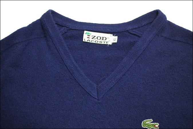 【XL】 70's IZOD LACOSTE アイゾッド ラコステ アクリル ニット セーター ネイビー Vネック ビンテージ USA 古着 オールド GC159_画像4