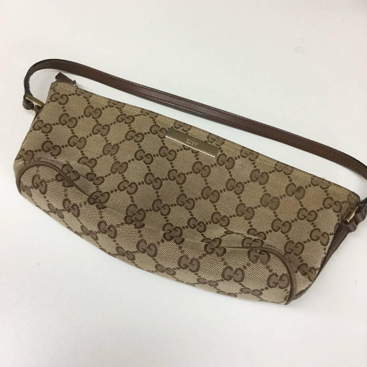 c190ac002 GUCCI Gucci GG pattern canvas leather Mini handbag pouch baniti ...