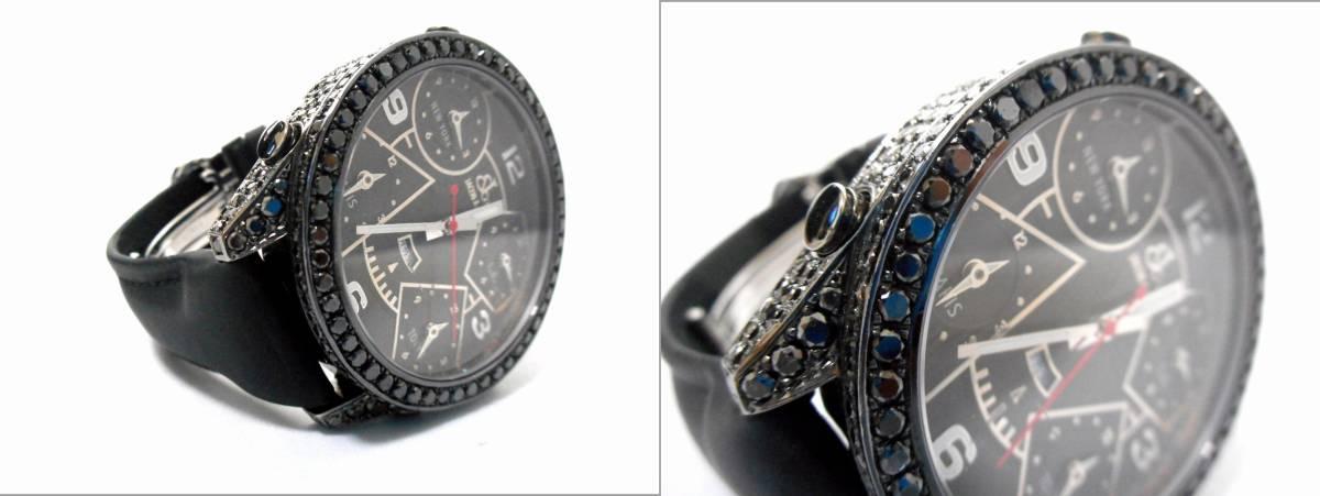 Jacob&co ジェイコブ ファイブタイムゾーン 47mm 全面 天然ブラックダイヤをアフターダイヤ加工します カスタムDUNAMIS アイステックウブロ_画像10