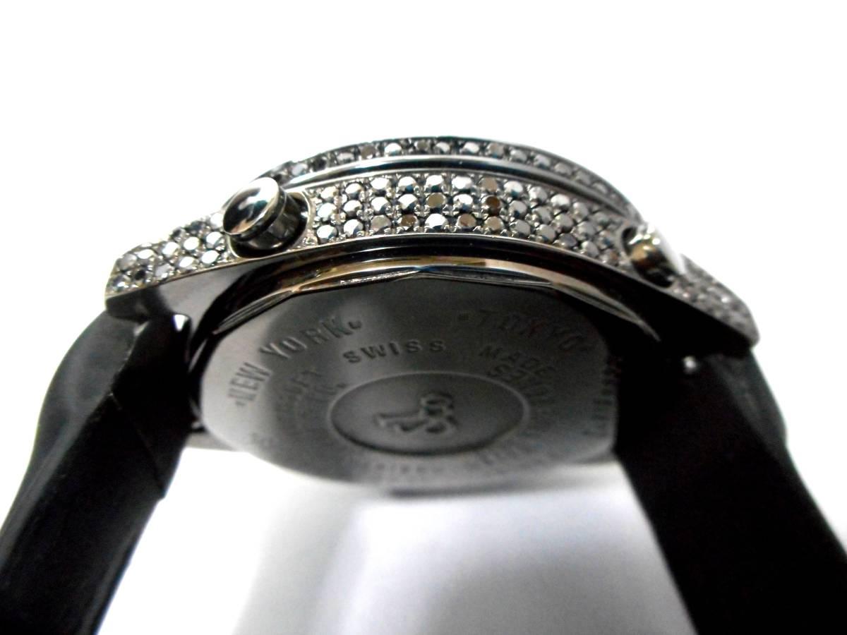 Jacob&co ジェイコブ ファイブタイムゾーン 47mm 全面 天然ブラックダイヤをアフターダイヤ加工します カスタムDUNAMIS アイステックウブロ_画像4