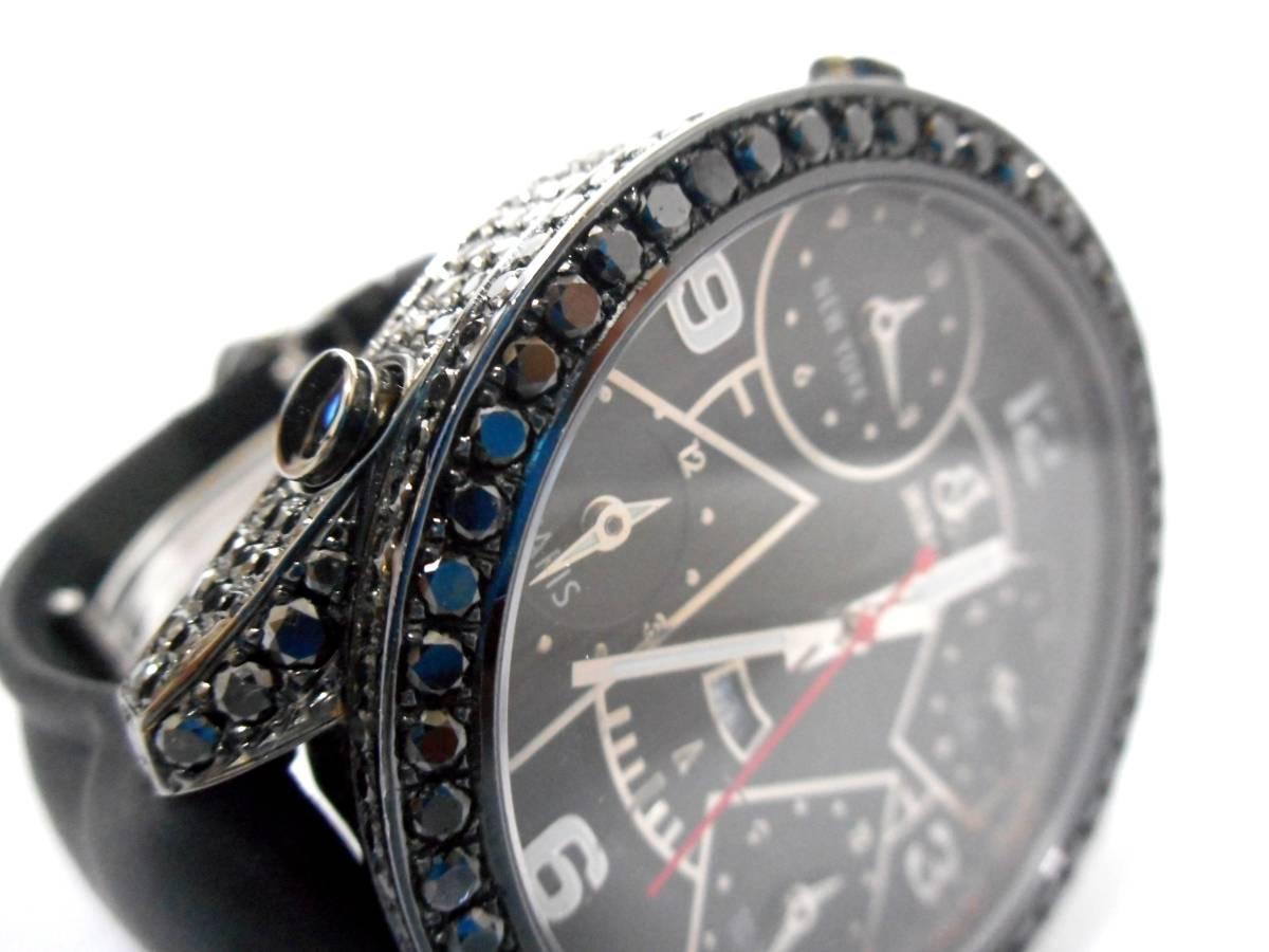 Jacob&co ジェイコブ ファイブタイムゾーン 47mm 全面 天然ブラックダイヤをアフターダイヤ加工します カスタムDUNAMIS アイステックウブロ_画像7