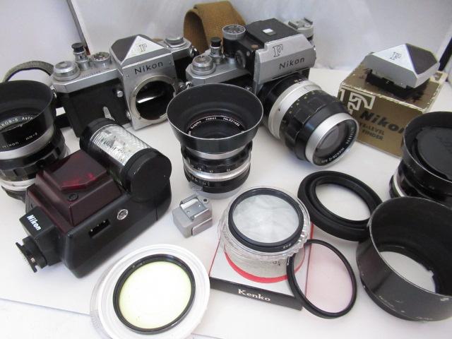 859☆ニコン/Nikon ジャンクセット F NIKKOR-1 AUTO 135mm 3.5/35mm 2.8/5cm 1:2/28mm 3.5/EYE-LEVEL FINDER/SB-20