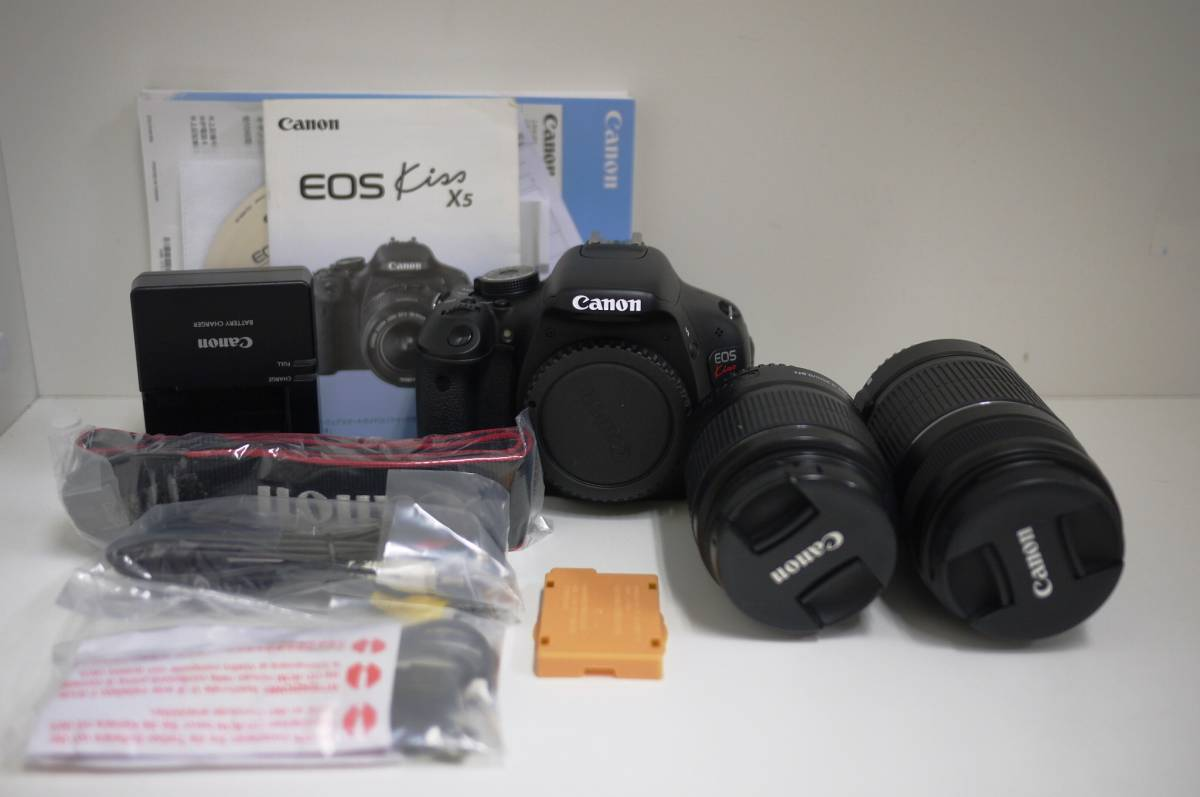 12 Canon キャノン EOS KISS X5 ×5 ダブルズームキット DOUBLE ZOOM KIT レンズ2個 EF-S 18-55mm F3.5-5.6 IS Ⅱ EF-S 55-250mm F4-5.6 IS