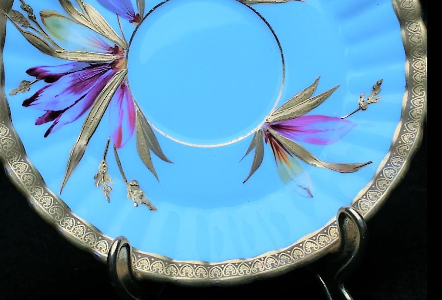 ★¥1★モノプリ 12262 アンティークエインズレイ・Aynsley・カップ&ソーサー・金彩アヤメ紫花柄 モノプリ★¥1★_画像8