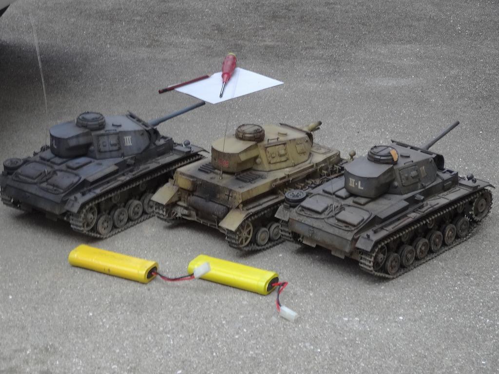 ● 1/16 3号戦車 3台セット プロポ大量 バッテリー2本 (金属履帯 金属砲身) ※ジャンクにて_画像6