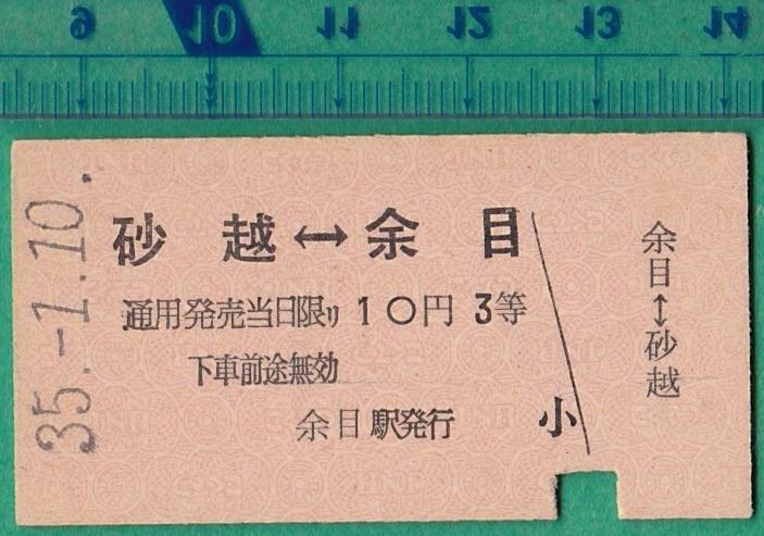 鉄道硬券切符99■砂越⇔余目 10円 35-1.10