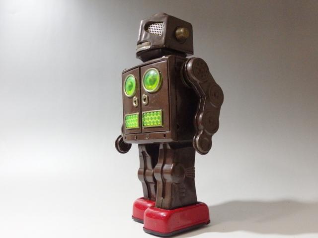 【美品】ブリキおもちゃ ロボット 電池で歩行点滅 戦後 昭和 懐かし雑貨 ビンテージ レト