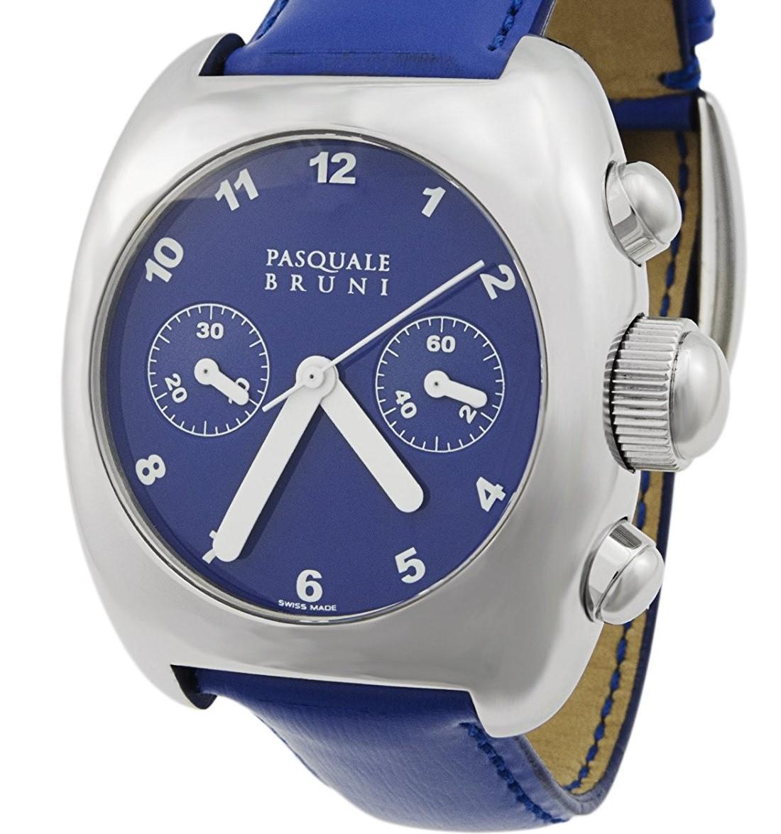 新品 パスクワーレ ブルーニ UOMO クロノグラフ 自動巻き 定価46万円 メンズ腕時計 ブルー文字盤 ブルーレザー PASQUALE BRUNI