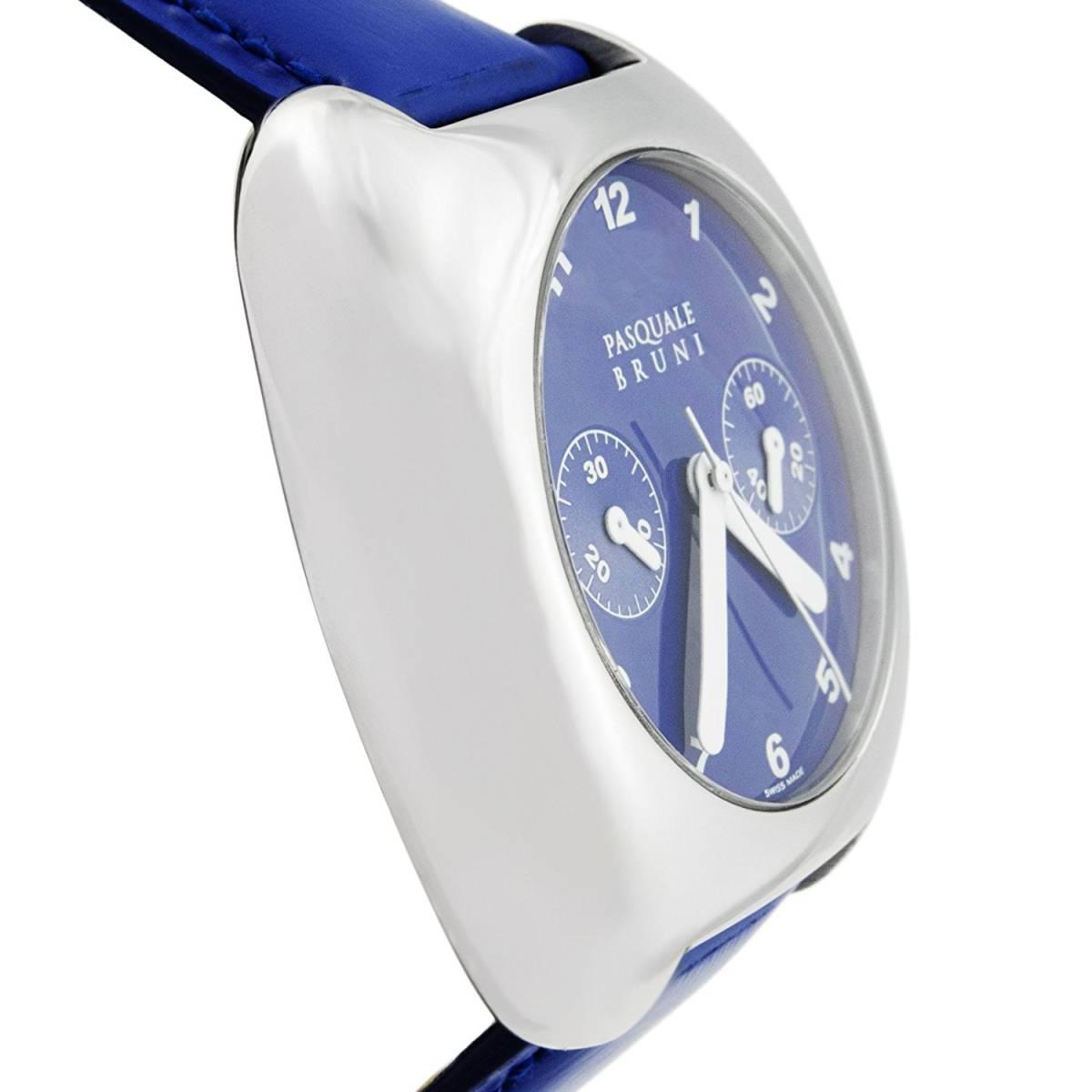 新品 パスクワーレ ブルーニ UOMO クロノグラフ 自動巻き 定価46万円 メンズ腕時計 ブルー文字盤 ブルーレザー PASQUALE BRUNI _画像4