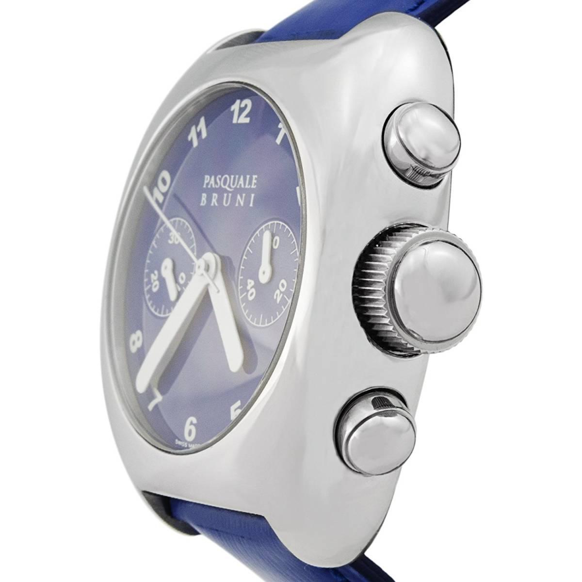 新品 パスクワーレ ブルーニ UOMO クロノグラフ 自動巻き 定価46万円 メンズ腕時計 ブルー文字盤 ブルーレザー PASQUALE BRUNI _画像2