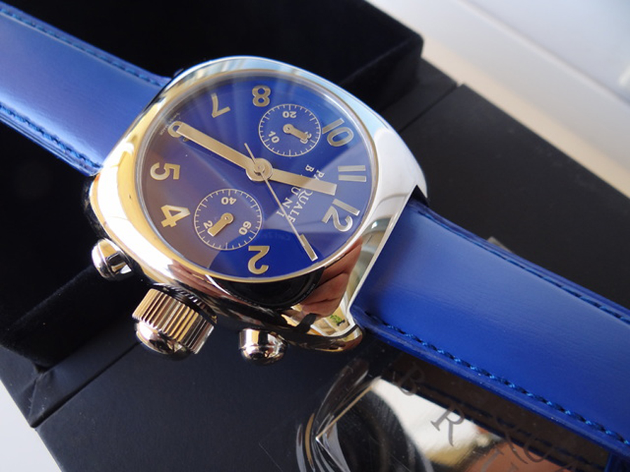 新品 パスクワーレ ブルーニ UOMO クロノグラフ 自動巻き 定価46万円 メンズ腕時計 ブルー文字盤 ブルーレザー PASQUALE BRUNI _画像7