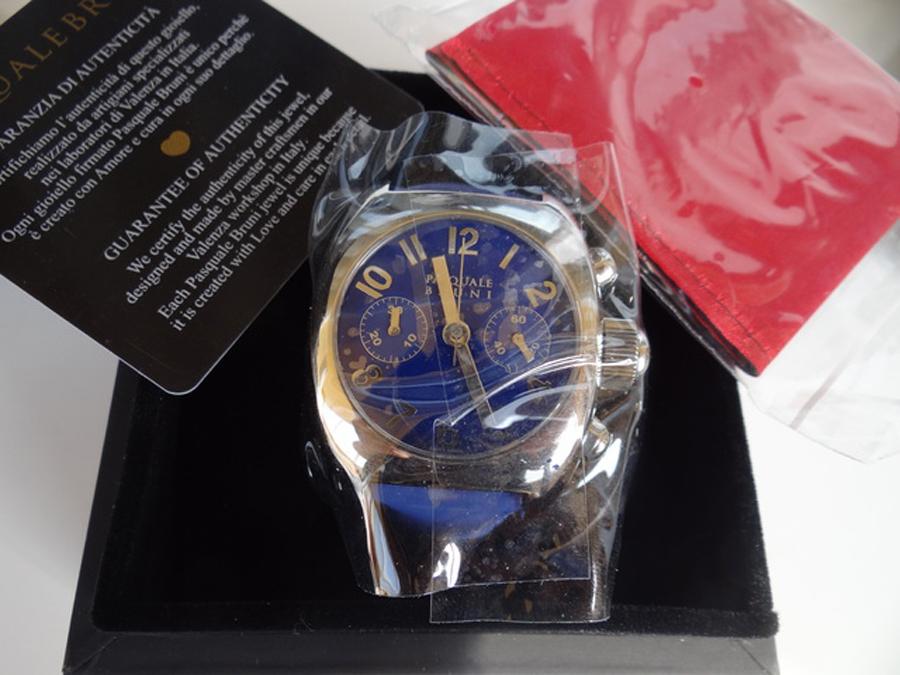 新品 パスクワーレ ブルーニ UOMO クロノグラフ 自動巻き 定価46万円 メンズ腕時計 ブルー文字盤 ブルーレザー PASQUALE BRUNI _画像6