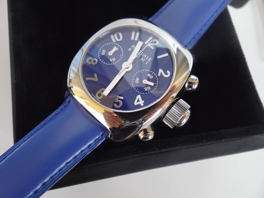 新品 パスクワーレ ブルーニ UOMO クロノグラフ 自動巻き 定価46万円 メンズ腕時計 ブルー文字盤 ブルーレザー PASQUALE BRUNI _画像8