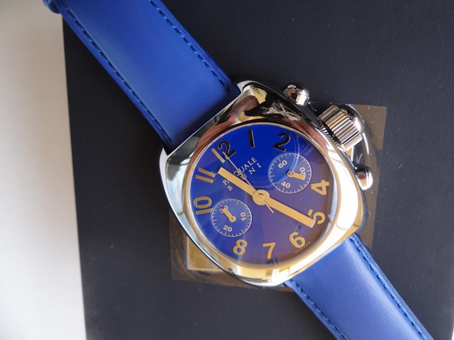 新品 パスクワーレ ブルーニ UOMO クロノグラフ 自動巻き 定価46万円 メンズ腕時計 ブルー文字盤 ブルーレザー PASQUALE BRUNI _画像10