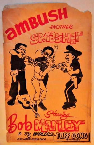 古い70年代ボブ・マーリィ AMBUSHのポスター Bob Marley & The Wailers (Tuff Gong) Very Rare!!
