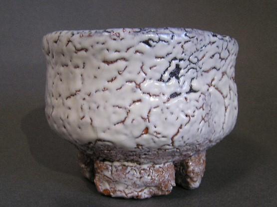 人間国宝 十一代三輪休雪(壽雪)鬼萩割高台茶碗 共箱 高島屋個展出品作 真作保証