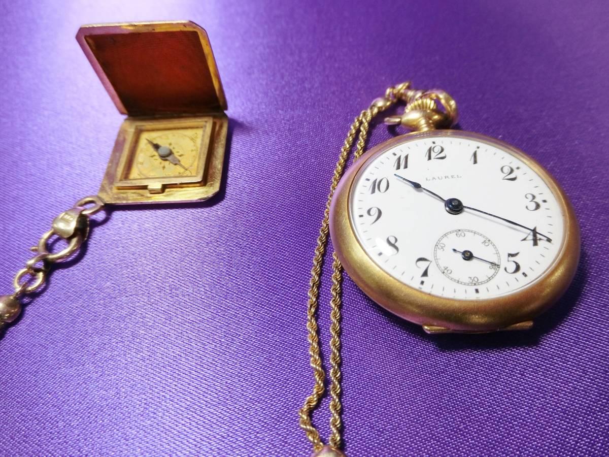 ★希少 セイコー SEIKO 18k 金無垢 懐中時計 Laurel ローレル 国産初の腕時計 18K 1914年 100年物 動作品 骨董 アンティーク(x-10.5)