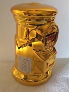 郵便局 郵便ポスト貯金箱★ゴールド・ビッグサイズ★高さ約20㎝★非売品_画像2