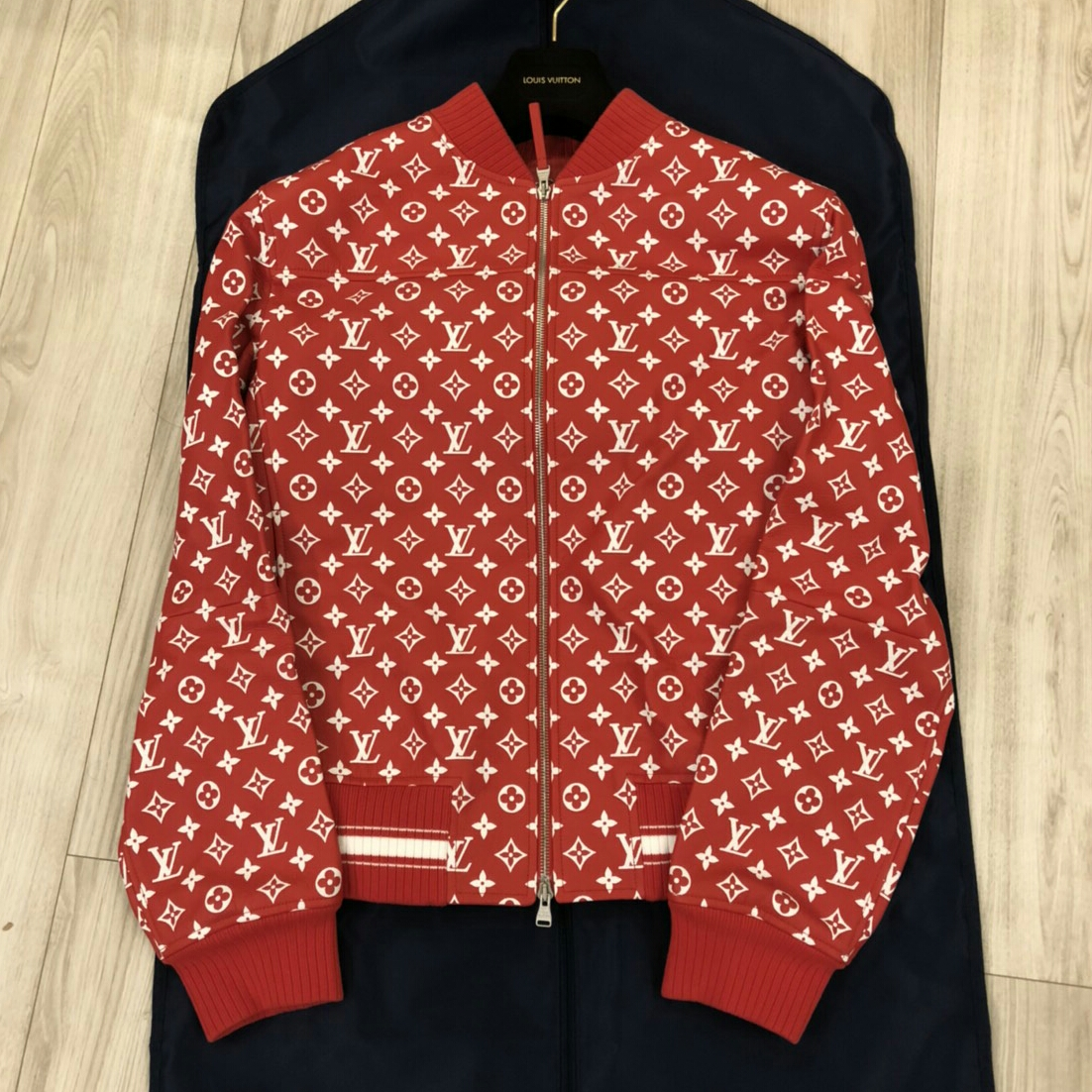 50 国内正規Supreme × Louis Vuitton Leather Baseball Jacket シュプリーム ルイヴィト