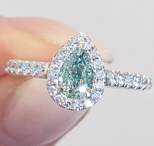 《BLUE DIAMOND》PT900 ダイヤモンド リング 天然ブルーダイヤ 0.524ct !SI2 最初で最後 VERY LIGHT BLUE AGT_画像3