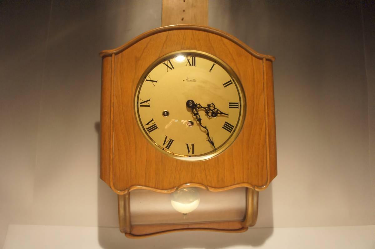 ドイツ製  名門マウテ ウエストミンスター 小型 曲げガラス 振り子式 柱時計  可