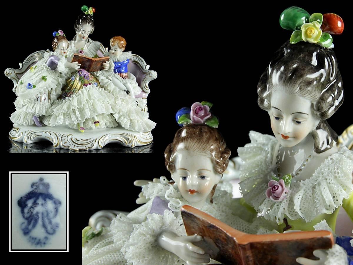 ◆櫟◆ 西洋陶器 親子置物 21cm レース DRESDEN ドレスデン 細密細工 アンティーク [D94.