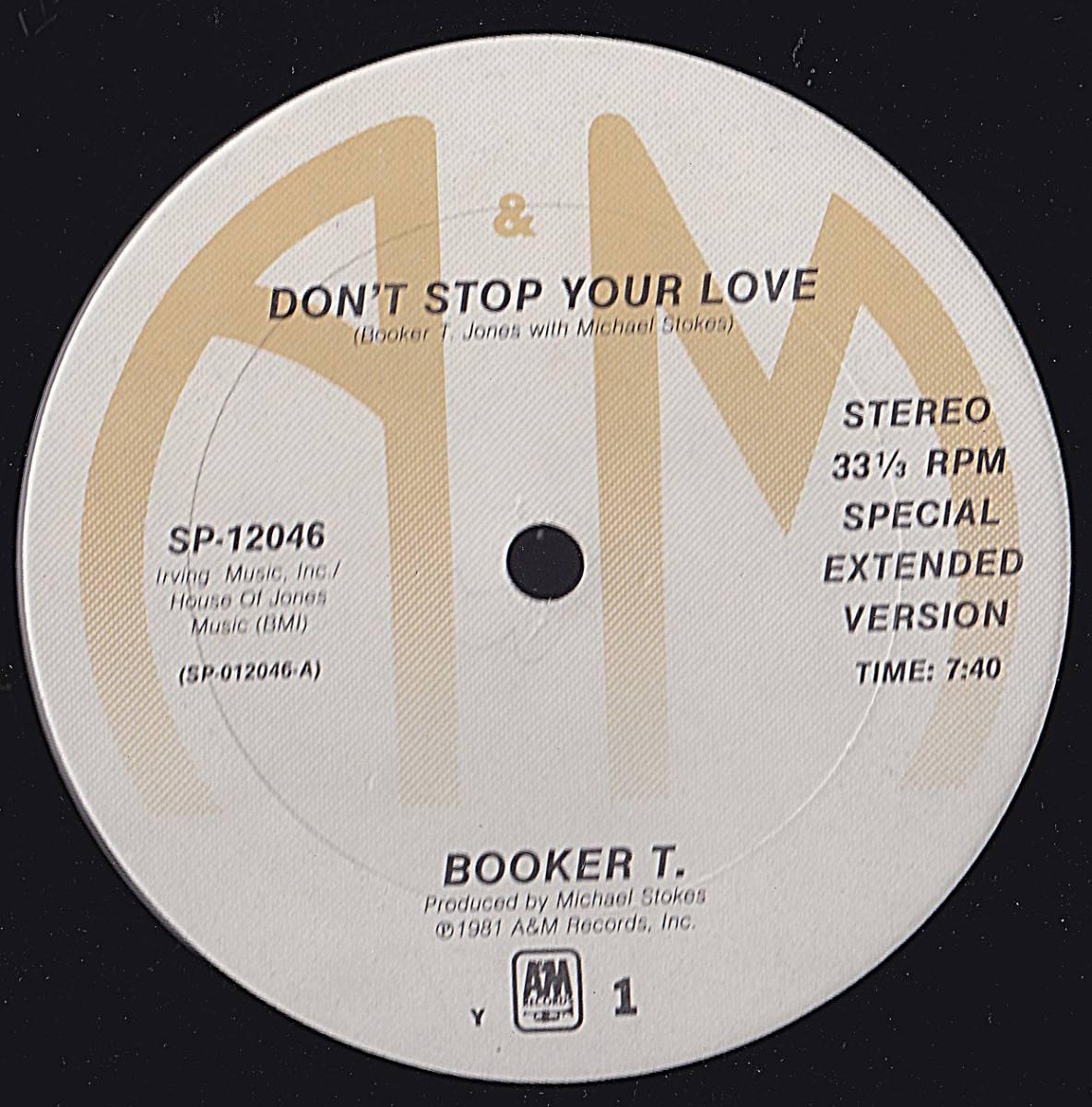 ダンクラ12inch★BOOKER T, / Don't stop your love★A&M★_画像1