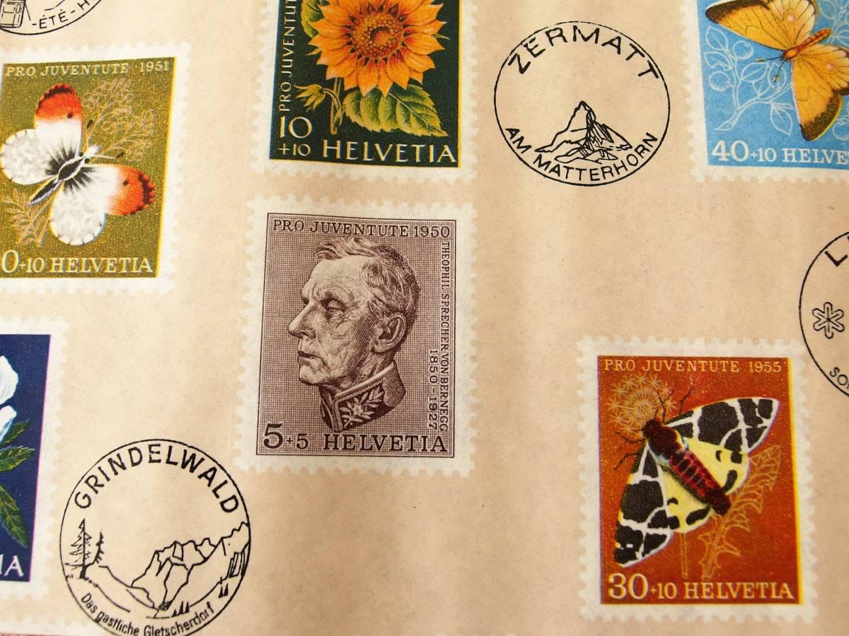 スイス製 ヴィンテージ&レトロ ワックスペーパー,包装紙 (スイスの切手)_画像4