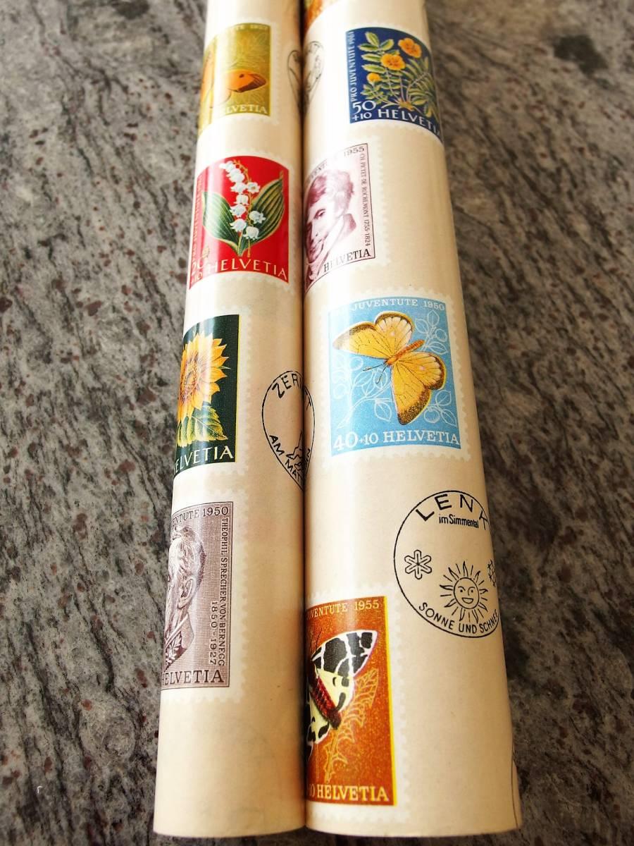 スイス製 ヴィンテージ&レトロ ワックスペーパー,包装紙 (スイスの切手)_50㎝単位で、数量6(3M)まで延長可能