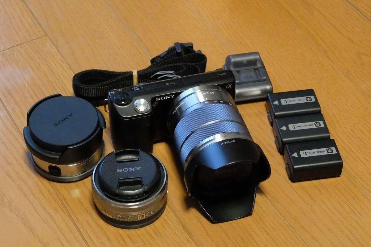 【中古】SONY NEX-5 ダブルズームレンズキットE16mm F2.8+E18-55mm F3.5-5.6 + ウルトラワイドコンバーター (VCL-ECU1)