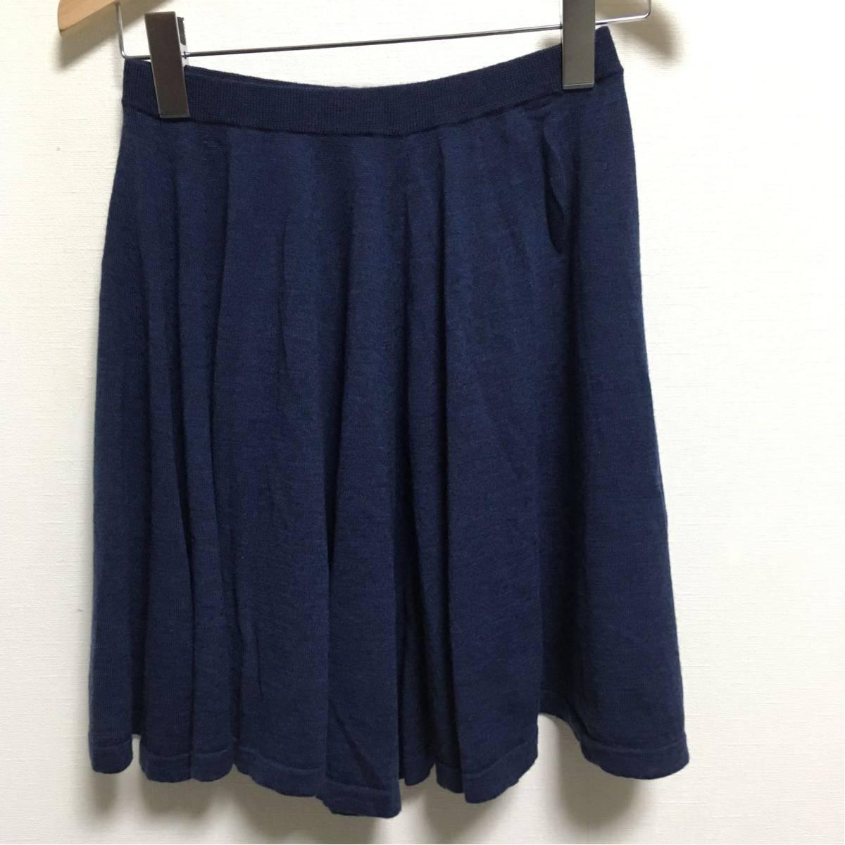 3f8939eb97af5 送料無料 8100 ロンハーマン Ron Herman ニットスカート size:XS ネイビー ウール100%
