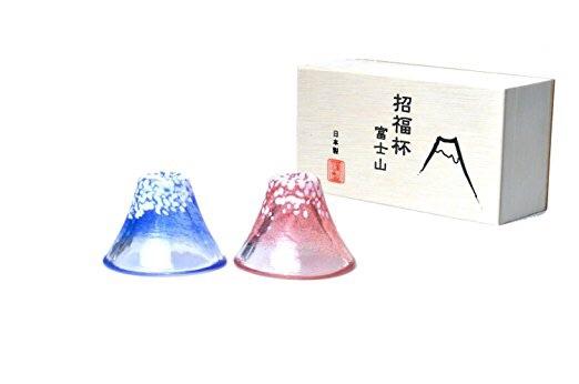 日本製 招福杯 冷酒杯 富士山 セット 木箱入り 新品 2個セット ペア ペアグラス 日本酒