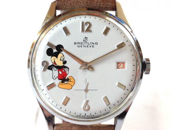 【即決1点限り】BREITLING(ブライトリング)★ミッキー ビンテージ腕時計 デイト カレンダー 白文字盤 手巻き 1204.116