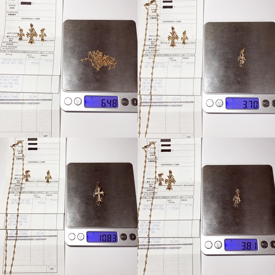 インボイス原本付 クロムハーツ 22k タイニーCHクロス・ベビーファット×2 純正ダイヤ ツイストチェーン 18インチ 王道SET 査定済 確実本物_画像4