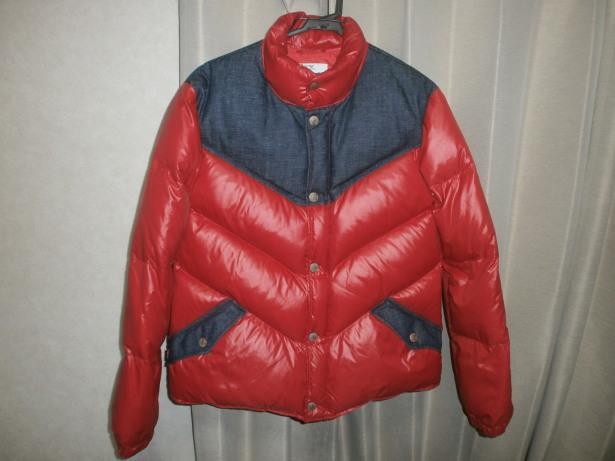 レア Levi's リーバイス 70830 ダウン ジャケット サイズ M 赤 ナイロン × 生デニム ダウン80% フェザー20%_画像1
