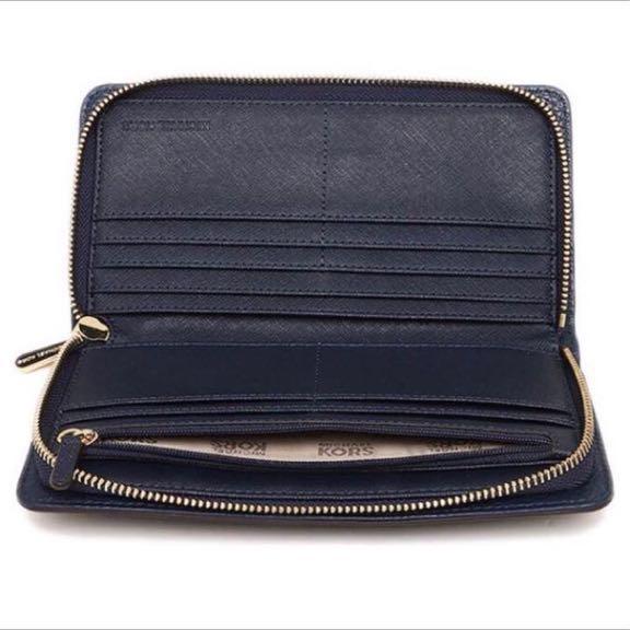 《残1》マイケルコース 長財布 定価3.8万 ハミルトン 高級レザー 鍵付き 人気 ネイビー*12月購入_画像2
