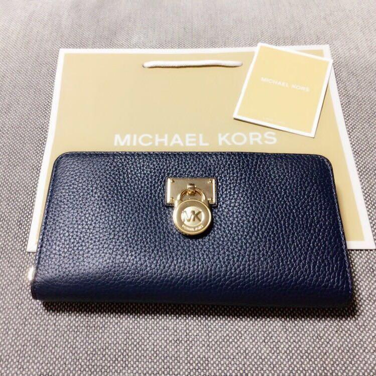 《残1》マイケルコース 長財布 定価3.8万 ハミルトン 高級レザー 鍵付き 人気 ネイビー*12月購入