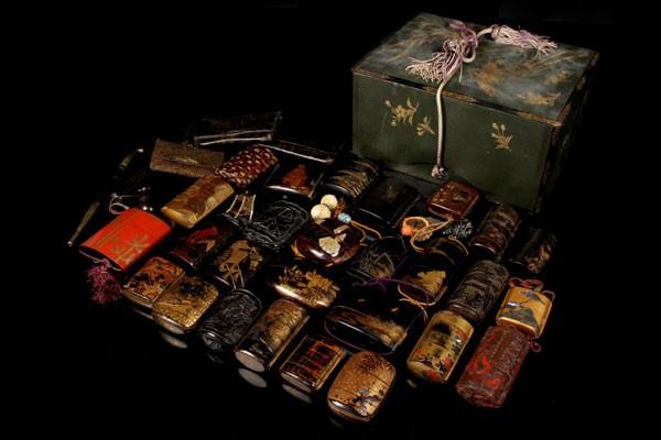 【仁】時代 蒔絵 漆 螺鈿 金彩 提物 根付 印籠大量セット 金鳥印籠仕込箱 骨董 古美術品