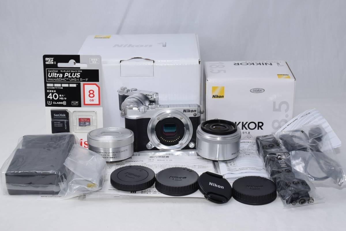 ☆ほぼ新品☆ニコン Nikon 1 J5 ダブルレンズキット シルバー☆10-30㎜標準ズーム & 18.5㎜単焦点 ☆コンパクトミラーレス一眼☆元箱一式