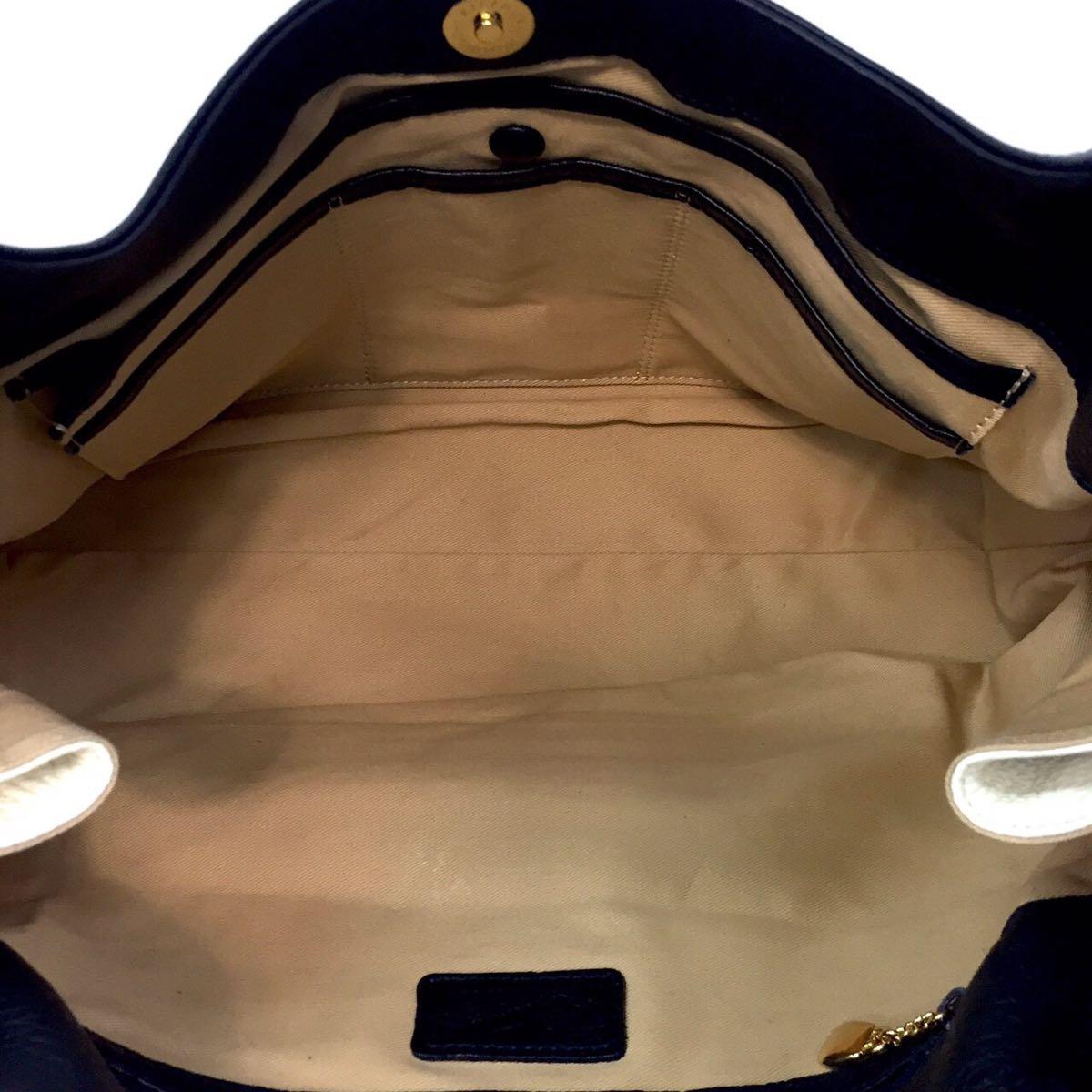 美品 キタムラ Kitamura レザー ショルダーバッグ トートバッグ ハンドバッグ ネイビー 紺 革 肩掛け_画像4