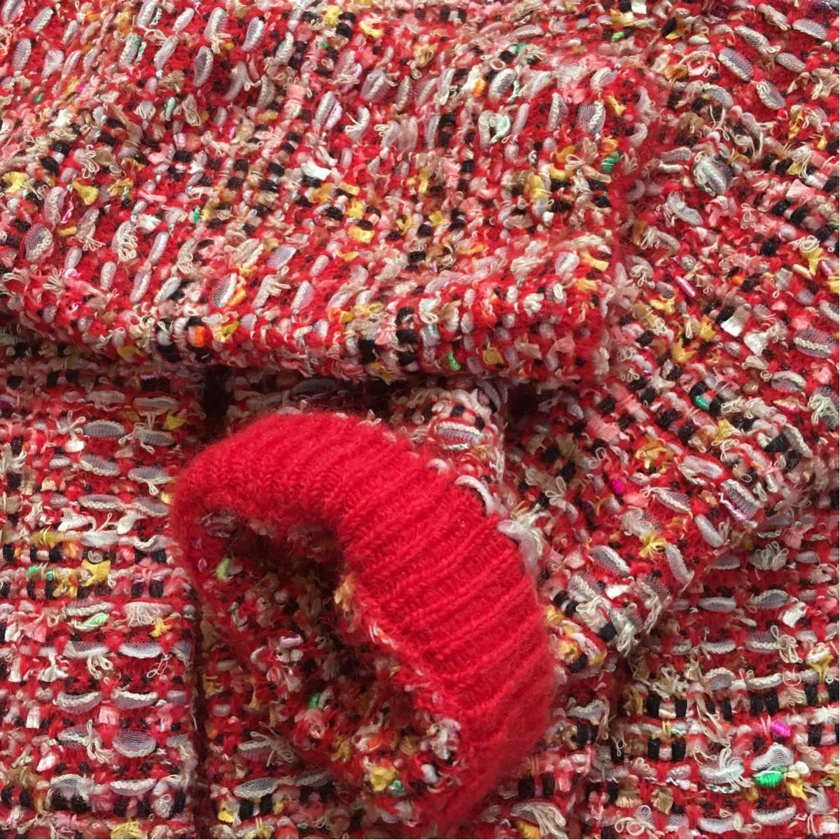 k 美品 Coohem(コーヘン) 個性的なツイードコート 赤系 36サイズ 可愛いジャケットコート_画像6