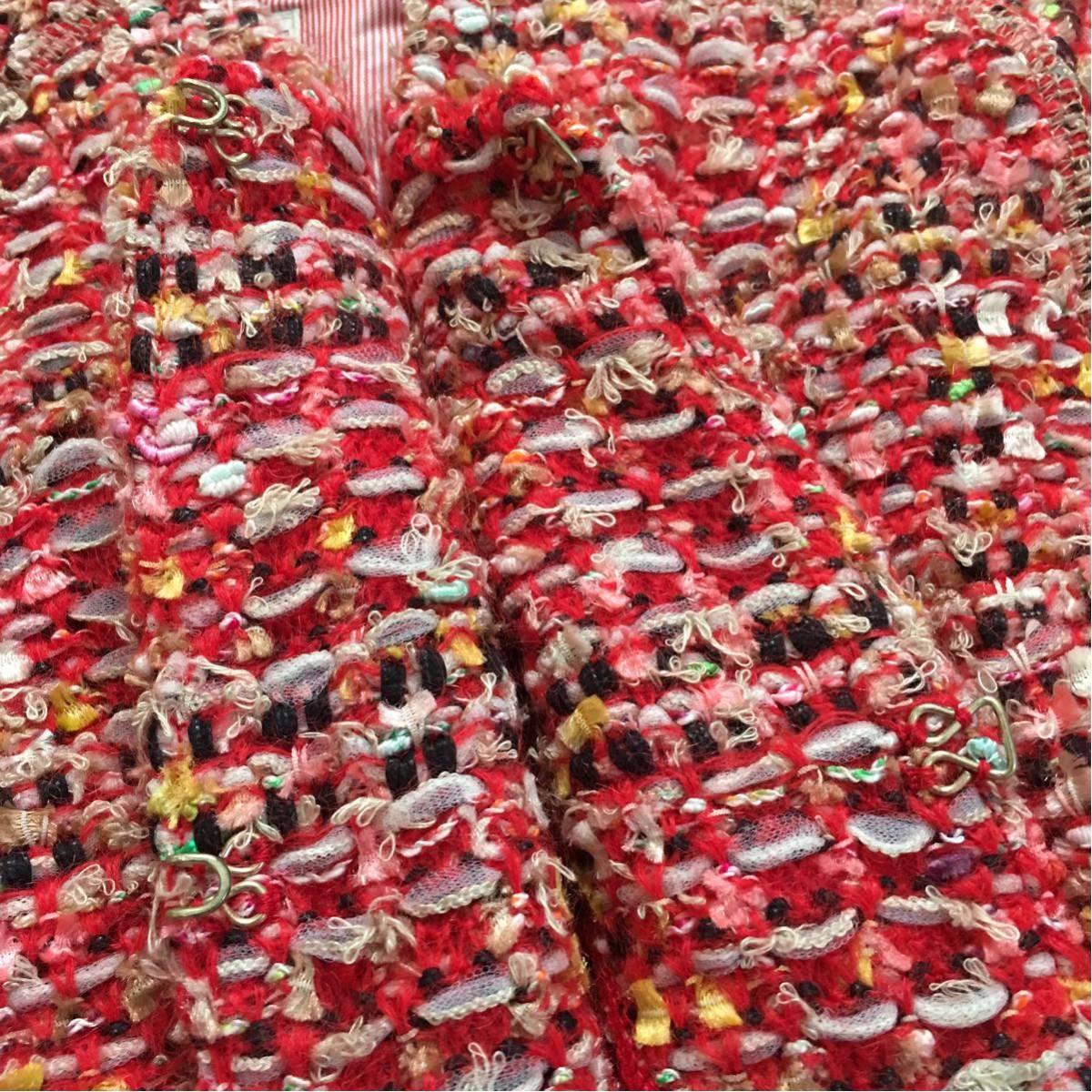k 美品 Coohem(コーヘン) 個性的なツイードコート 赤系 36サイズ 可愛いジャケットコート_画像5