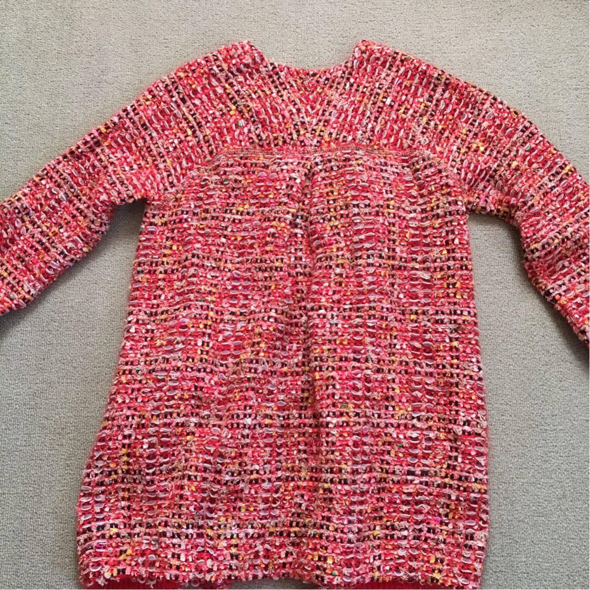 k 美品 Coohem(コーヘン) 個性的なツイードコート 赤系 36サイズ 可愛いジャケットコート_画像10