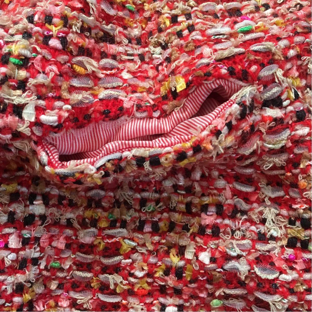 k 美品 Coohem(コーヘン) 個性的なツイードコート 赤系 36サイズ 可愛いジャケットコート_画像9
