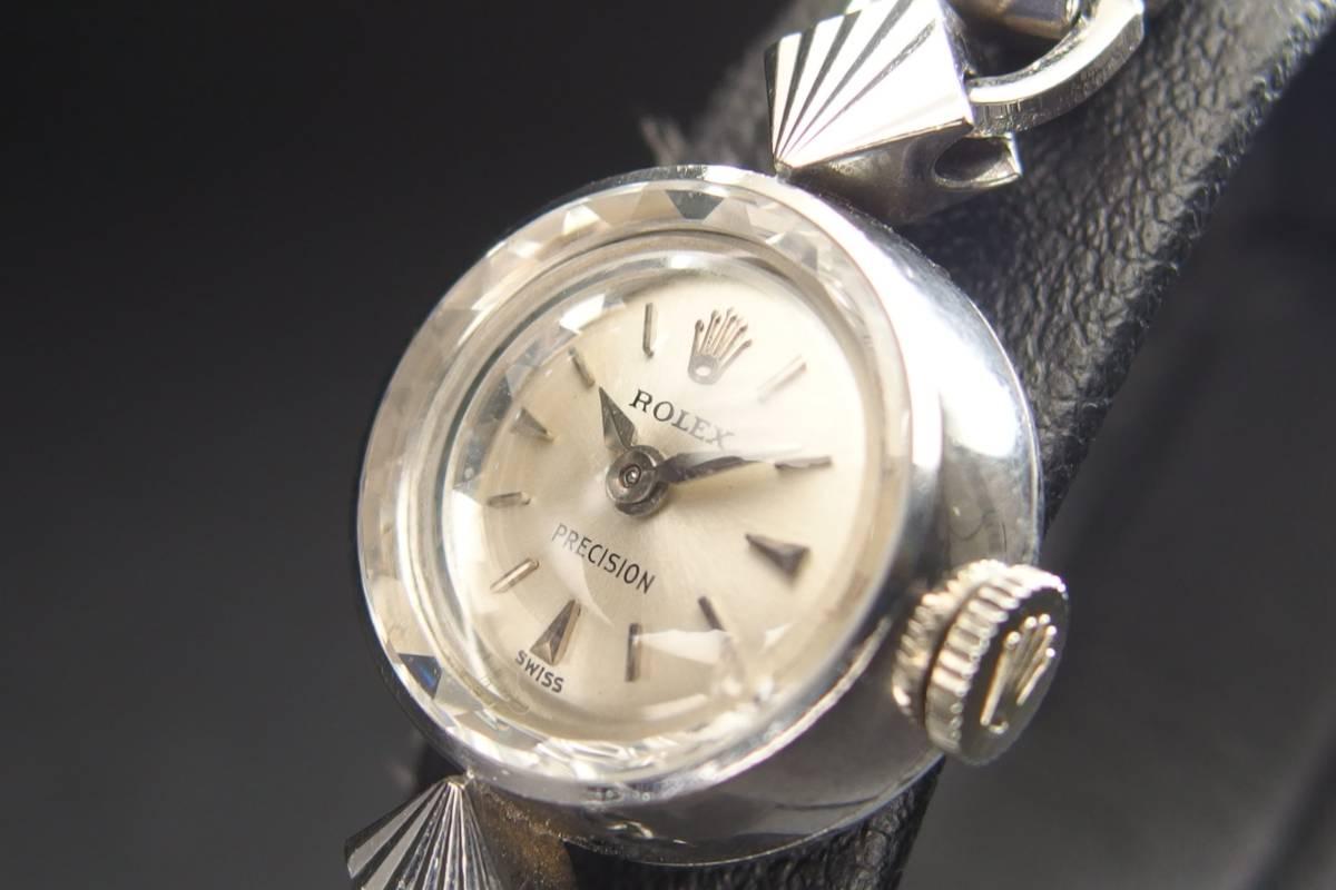 ROLEX ロレックス PRECISION プレシジョン SWISS WG ホワイトゴールド 手巻き ラウンド レディース 腕時計 美品 _画像4