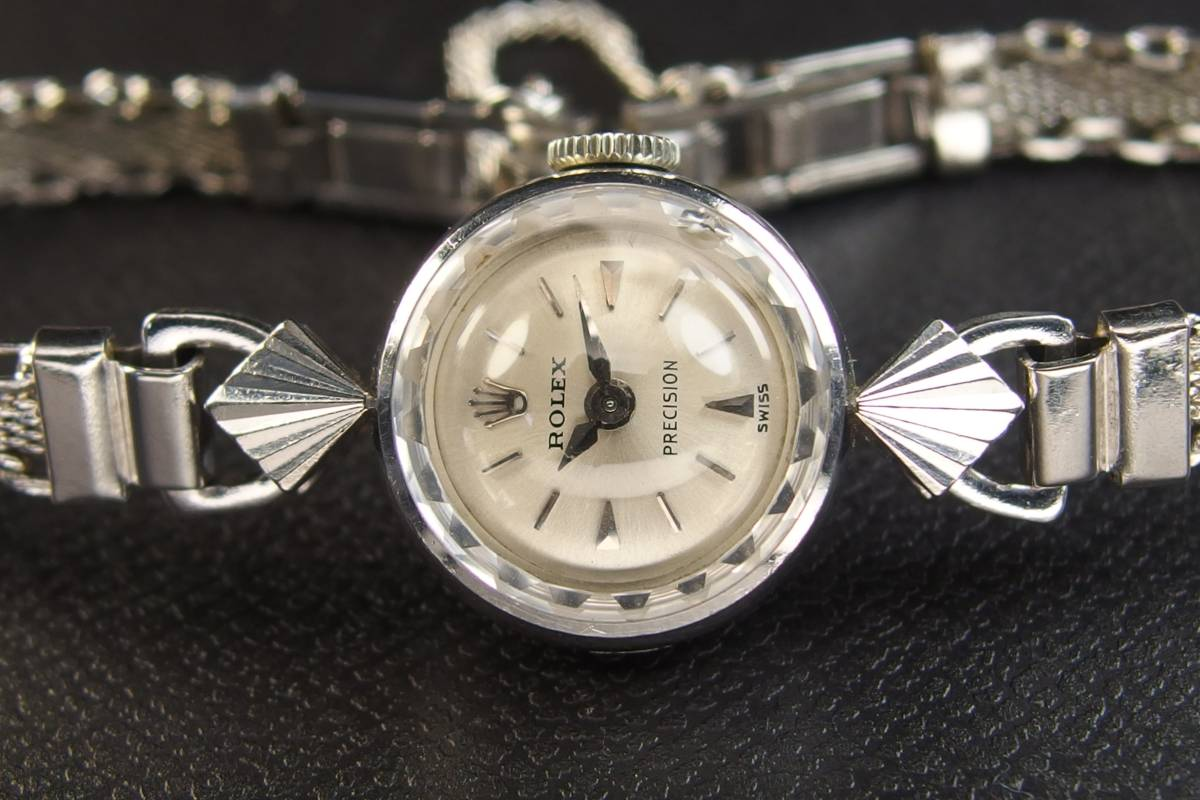 ROLEX ロレックス PRECISION プレシジョン SWISS WG ホワイトゴールド 手巻き ラウンド レディース 腕時計 美品 _画像7