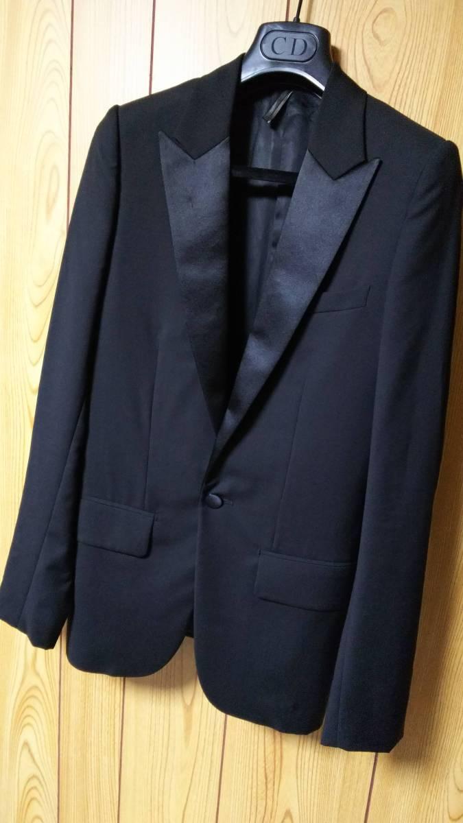 国内正規 激レア Dior Hommeディオールオム スモーキングジャケット黒 最小38 XXS 08AW セレブ 芸能人多数愛用 ブラック光沢ピークドラペル